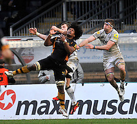 High Wycombe, England. Ashley Johnson of London Wasps up for a high ball during the Aviva Premiership match between London Wasps and Sale Sharks at Adams Park on December 23. 2012 in High Wycombe, England.