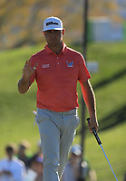 2nd February 2020, TPC Scottsdale, Arizona, USA; Gary Woodland acknowledges the crowd at the second hole during the final round of the Waste Management Phoenix Open
