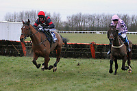 Race winner Crystal Swing ridden by Wayne Hutchinson (L) in jumping action in the rewards4racing.com Handicap Hurdle