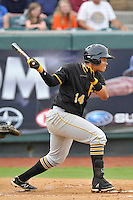 First baseman Jhoan Herrera (14) of the Bristol Pirates bats in a game against the Pulaski Yankees on Tuesday, July 5, 2016, at Calfee Park in Pulaski, Virginia. Pulaski won, 6-3. (Tom Priddy/Four Seam Images)