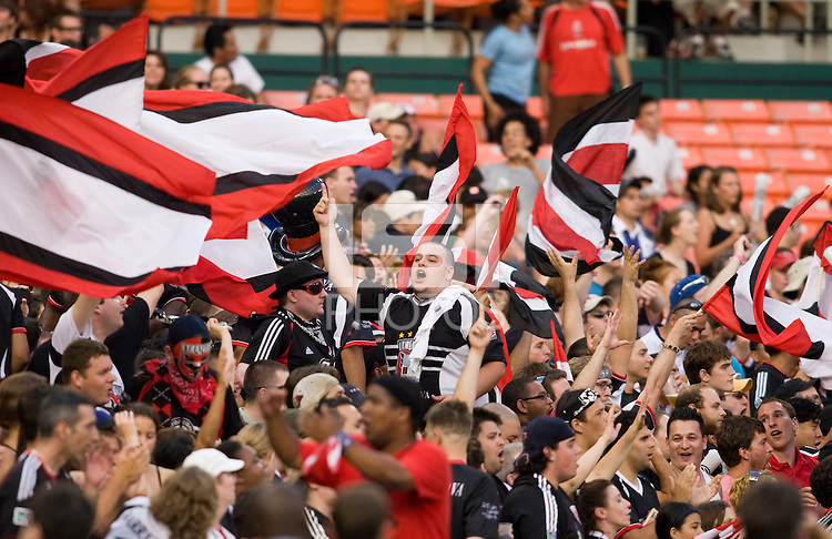 D.C. United fans cheer after a goal during the game at RFK Stadium in Washington, DC.  D.C. United was defeated by the San Jose Earthquakes, 4-2.