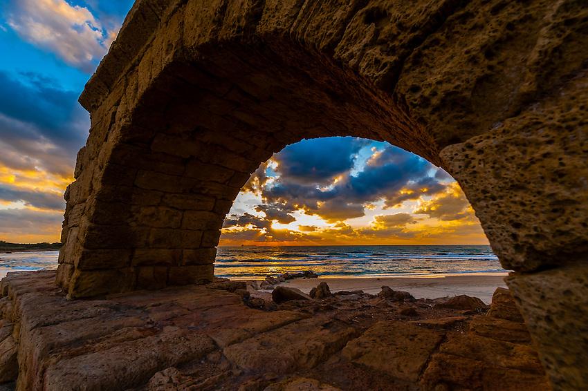 Roman Aqueduct,  Caesarea, Capital of Roman province of Judea, Mediterranean Sea, Israel.