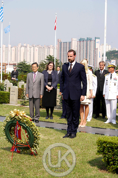 Crown Prince Haakon & Crown Princess Mette Marit of Norway visit The United Nations Memorial Cemetery in Busan on the third day of their visit to South Korea.