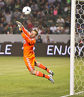 CARSON, CA - April 21, 2012: Philadelphia Union goalie Zac MacMath (18) during the Chivas USA vs Philadelphia Union match at the Home Depot Center in Carson, California. Final score Philadelphia Union 1, Chivas USA 0.