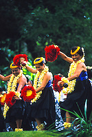 Dancing hula at Prince Lot festival, Island of Oahu