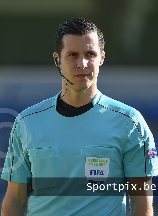 20170323 - BEVEREN , BELGIUM : Assistant referee Mircea Grigoriu pictured during the UEFA Under 19 Elite round game between Sweden U19 and Belgium U19, on the first matchday in group 7 of the Uefa Under 19 elite round in Belgium , thursday 23 th March 2017 . PHOTO SPORTPIX.BE | DIRK VUYLSTEKE