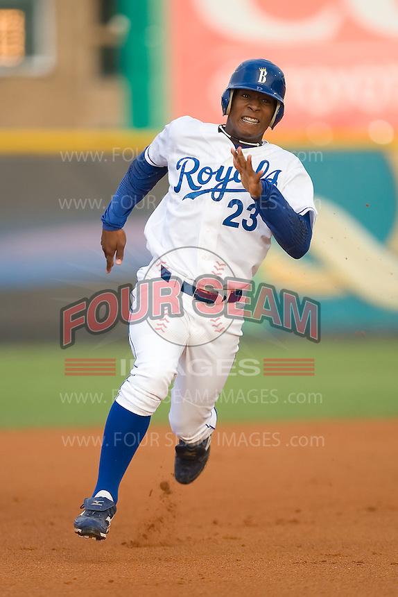 Julio Aparicio (23) of the Burlington Royals hustles into third base with a triple at Burlington Athletic Park in Burlington, NC, Wednesday, August 13, 2008. (Photo by Brian Westerholt / Four Seam Images)
