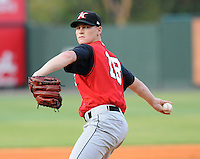 August 25, 2009: RHP Stephen Sauer (18) of the Kannapolis Intimidators, South Atlantic League affiliate of the Chicago White Sox, in a game at Fluor Field at the West End in Greenville, S.C. Photo by: Tom Priddy/Four Seam Images