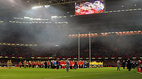 Wales and Australia teams have a  2 minute silence for Remembrance day <br /> <br /> Photographer Ian Cook/CameraSport<br /> <br /> Under Armour Series Autumn Internationals - Wales v Australia - Saturday 10th November 2018 - Principality Stadium - Cardiff<br /> <br /> World Copyright © 2018 CameraSport. All rights reserved. 43 Linden Ave. Countesthorpe. Leicester. England. LE8 5PG - Tel: +44 (0) 116 277 4147 - admin@camerasport.com - www.camerasport.com