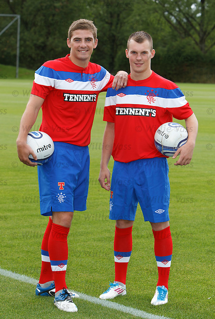 Kyle Hutton land Gregg Wylde launch the Rangers away kit at Murray Park