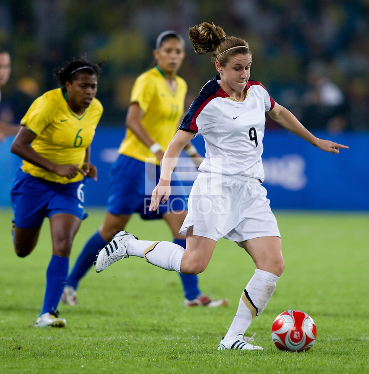 Heather O'Reilly. The USWNT defeated Brazil, 1-0, to win the gold medal during the 2008 Beijing Olympics at Workers' Stadium in Beijing, China.
