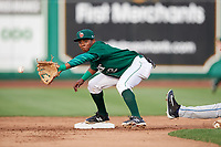Fort Wayne TinCaps second baseman Esteury Ruiz (12) waits to receive a throw during a game against the West Michigan Whitecaps on May 17, 2018 at Parkview Field in Fort Wayne, Indiana.  Fort Wayne defeated West Michigan 7-3.  (Mike Janes/Four Seam Images)