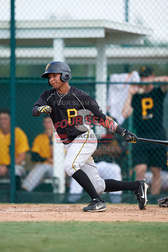 Pittsburgh Pirates Cristian Navarro (2) at bat during an Instructional League intrasquad black and gold game on September 28, 2017 at Pirate City in Bradenton, Florida.  (Mike Janes/Four Seam Images)