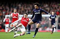 7th March 2020; Emirates Stadium, London, England; English Premier League Football, Arsenal versus West Ham United; Hector Bellerín of Arsenal challenges Felipe Anderson of West Ham United