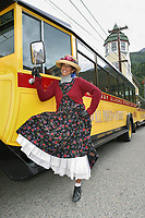 Skagway town tour driver dressed in clothing of the early gold rush days in Skagway, Alaska.
