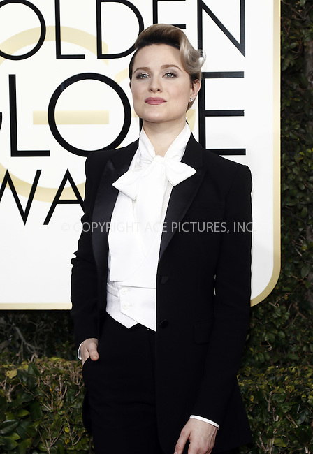 www.acepixs.com<br /> <br /> January 8 2017, LA<br /> <br /> Evan Rachel Wood arriving at the 74th Annual Golden Globe Awards at the Beverly Hilton Hotel on January 8, 2017 in Beverly Hills, California.<br /> <br /> By Line: Famous/ACE Pictures<br /> <br /> <br /> ACE Pictures Inc<br /> Tel: 6467670430<br /> Email: info@acepixs.com<br /> www.acepixs.com
