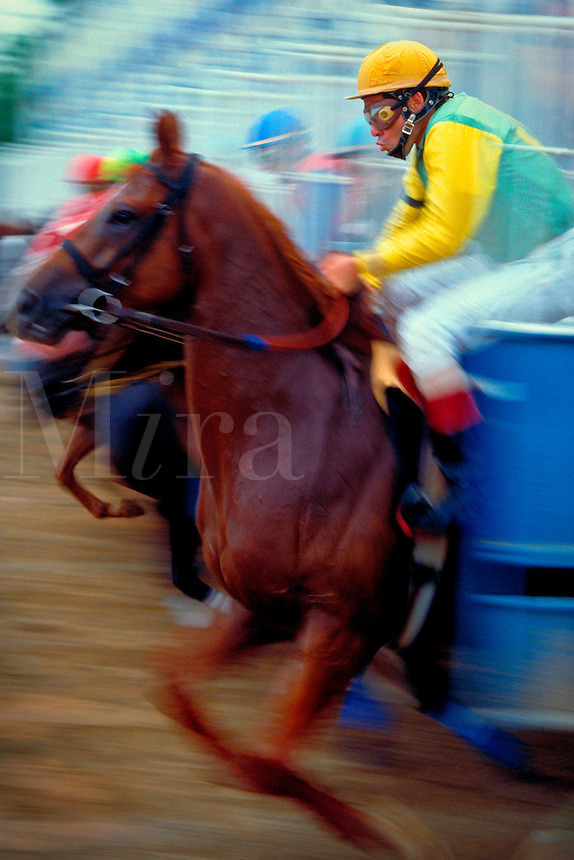 Horse racing - Horses out of the gate rushing to get the lead.