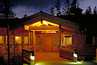 House exterior at night, Keystone Ranch, Summit County, CO. Summit County, Colorado.