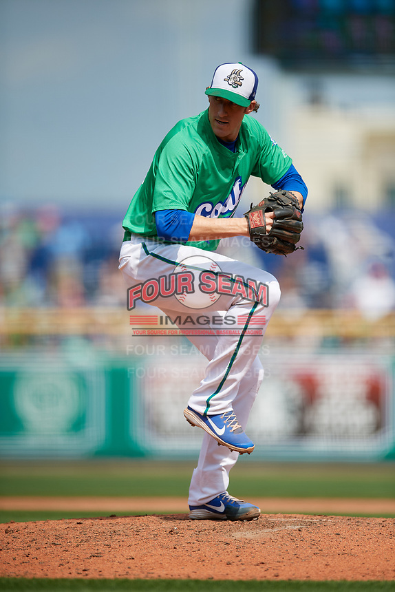 Hartford Yard Goats relief pitcher Brian Moran (23) delivers a pitch during a game against the Trenton Thunder on August 26, 2018 at Dunkin' Donuts Park in Hartford, Connecticut.  Trenton defeated Hartford 8-3.  (Mike Janes/Four Seam Images)