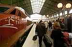 FRANCE, PARIS 22 FEBRUARY 2000--Passengers embarking the high speed train Thalys to Brussels at the Gare du Nord in Paris. -- PHOTO: JUHA ROININEN / EUP-IMAGES