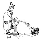 (An old woman sprays water from a drinking fountain for her dog to drink)