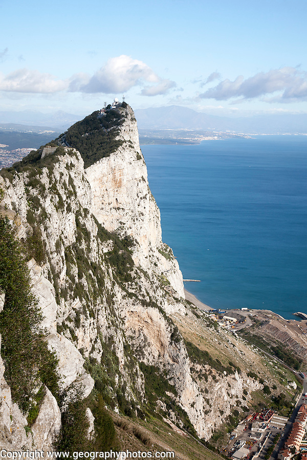 Sheer white rock mountainside the Rock of Gibraltar, British territory in southern Europe