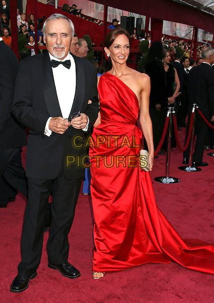 DENNIS HOPPER & VICTORIA DUFFY.The 80th Annual Academy Awards Arrivals held at the Kodak Theatre, Hollywood, California, USA..February 24th, 2008.oscars full length black tuxedo red dress one shoulder married husband wife .CAP/ADM/RE.©Russ Elliot/AdMedia/Capital Pictures.