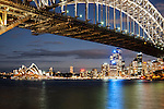 Sydney Harbour Bridge, Opera House and city skyline in the evening, Sydney, NSW, Australia