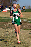 Ste. Genevieve freshman Mallory Koller runs down a hill late in the Class 3 Girls race at the State Cross Country Championships on her way to a 9th place finish, Saturday, November 3.
