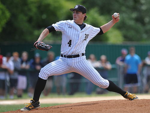Anthony Fontana #4 of Wantagh pitches during the Class A varsity baseball Long Island Championship against Shoreham-Wading River at SUNY Old Westbury on Saturday, June 3, 2017.