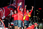 Teams heading towards the finish line of the Volvo Ocean Race Leg 4 Sanya - Auckland on February 28, 2015 in Auckland, New Zealand. The Volvo Ocean Race 2014-15 is the 12th running of this ocean marathon. Starting from Alicante in Spain on October 11, 2014, the route, spanning some 39,379 nautical miles, visits 11 ports in 11 countries (Spain, South Africa, United Arab Emirates, China, New Zealand, Brazil, United States, Portugal, France, the Netherlands and Sweden) over nine months. The Volvo Ocean Race is the world's premier ocean race for professional racing crews. Photo by Xaume Olleros / Power Sport Images