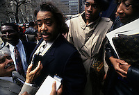 (930406-SWR01) NEW YORK, NY -- 2MAY92 --The Reverend Al Sharpton speaks with the media on the steps of City Hall about his endorsements in the local school board elections. © Stacy Walsh Rosenstock