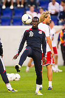 Lloyd Sam (10) of the New York Red Bulls during warmups prior to playing the Columbus Crew. The New York Red Bulls defeated the Columbus Crew 3-1 during a Major League Soccer (MLS) match at Red Bull Arena in Harrison, NJ, on September 15, 2012.