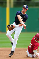 Notre Dame Fighting Irish second baseman Cavan Biggio (23) during a game versus the Boston College Eagles at Pellagrini Diamond at Shea Field on May 15, 2015 in Chestnut Hill, Massachusetts.  (Ken Babbitt/Four Seam Images)