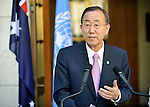 United Nations Secretary-General Ban Ki-Moon speaks during a press conference with Australian Prime Minister Julia Gillard at Parliament House in Canberra on September 3, 2011. PM Gillard discussed Australia's support for UN-endorsed missions, including in Afghanistan and East Timor, as well developments in North Africa and the Middle East with the UN leader.  AFP PHOTO / Mark GRAHAM