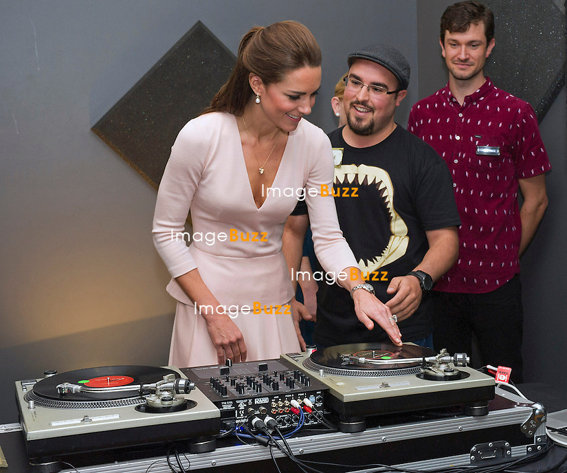 KATE, DUCHESS OF CAMBRIDGE AND PRINCE WILLIAM DJS<br /> The Duke and Duchess of Cambridge try their hand as DJs on the record deck,when they visited Norrthern Sound System.<br /> Sidney, Australia, 23.04.2014