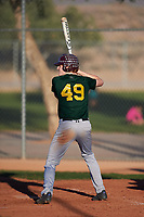 Kamren Backherms (49), from Elko, Nevada, while playing for the Athletics during the Under Armour Baseball Factory Recruiting Classic at Red Mountain Baseball Complex on December 29, 2017 in Mesa, Arizona. (Zachary Lucy/Four Seam Images)