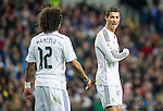 Real Madrid's Portuguese forward Cristiano Ronaldo and brasilian defender Marcelo during the Spanish league football match Real Madrid vs Celta de Vigo at the Santiago Bernabeu stadium in Madrid on december 6, 2014. Samuel de Roman / Photocall3000.