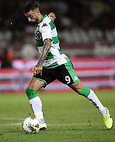 Calcio, Serie A: Torino - Sassuolo, Olympic stadium Grande Torino, August 25, 2019.<br /> Sassuolo's Francesco Caputo in action during the Italian Serie A football match between Torino and Sassuolo at Olympic stadium Grande Torino, August 25, 2019.<br /> UPDATE IMAGES PRESS/Isabella Bonotto