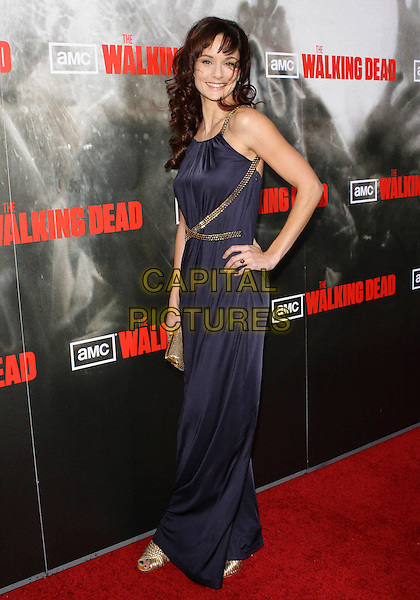 "SARAH WAYNE CALLIES.""Walking Dead"" Los Angeles Premiere Screening held at The Arclight Theater, Los Angeles, California, USA..October 26th, 2010.full length black blue maxi dress hand on hip belts straps.CAP/ADM/TC.©T. Conrad/AdMedia/Capital Pictures."