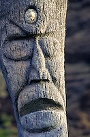 Carved wooden statue at Volcanoes National Park on the Big Island