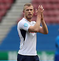 8th February 2020; DW Stadium, Wigan, Greater Manchester, Lancashire, England; English Championship Football, Wigan Athletic versus Preston North End; Jayden Stockley of Preston North End returns the applause from the visiting supporters at the end of the match