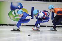 SHORT TRACK: DORDRECHT: Sportboulevard, 14-02-2016, ISU World Cup Short Track Final 2015/2016, Keith Carroll (#28), Ruslan Zakharov (#43), Dennis Visser (#178), ©photo Martin de Jong