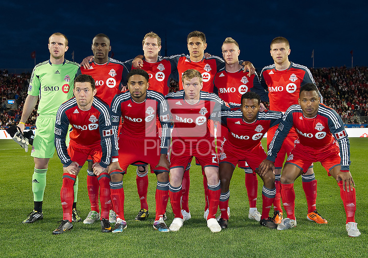 13 April 2011: The Toronto FC starting eleven  during an MLS game between Los Angeles Galaxy and the Toronto FC at BMO Field in Toronto, Ontario Canada..The game ended in a 0-0 draw.