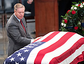 United States Senator Lindsey Graham (Republican of South Carolina) pays respects to the late US Senator John McCain (Republican of Arizona) during the Lying in State ceremony honoring  in the US Capitol Rotunda in Washington, DC on Friday, August 31, 2018.<br /> Credit: Ron Sachs / CNP<br /> <br /> (RESTRICTION: NO New York or New Jersey Newspapers or newspapers within a 75 mile radius of New York City)