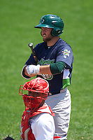 Vermont Lake Monsters second baseman Nate Mondou (6) at bat as catcher Luis Vilorio looks to the dugout during a game against the Auburn Doubledays on July 13, 2016 at Falcon Park in Auburn, New York.  Auburn defeated Vermont 8-4.  (Mike Janes/Four Seam Images)