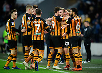Hull City's Jarrod Bowen, second in from right, celebrates scoring the opening goal with team-mates<br /> <br /> Photographer Chris Vaughan/CameraSport<br /> <br /> The EFL Sky Bet Championship - Hull City v Sheffield Wednesday - Saturday 12th January 2019 - KCOM Stadium - Hull<br /> <br /> World Copyright &copy; 2019 CameraSport. All rights reserved. 43 Linden Ave. Countesthorpe. Leicester. England. LE8 5PG - Tel: +44 (0) 116 277 4147 - admin@camerasport.com - www.camerasport.com