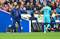 Tottenham Hotspur Manager Mauricio Pochettino gives instructions during Brighton & Hove Albion vs Tottenham Hotspur, Premier League Football at the American Express Community Stadium on 5th October 2019