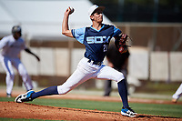 Jaden Bruno during the WWBA World Championship at the Roger Dean Complex on October 18, 2018 in Jupiter, Florida.  Jaden Bruno is a right handed pitcher from Wellington, Florida who attends American Heritage High School and is committed to Stanford.  (Mike Janes/Four Seam Images)