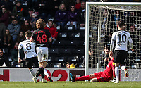 Derby County's Mason Mount (left) scoring his side's second goal <br /> <br /> Photographer Andrew Kearns/CameraSport<br /> <br /> The EFL Sky Bet Championship - Derby County v Bolton Wanderers - Saturday 13th April 2019 - Pride Park - Derby<br /> <br /> World Copyright &copy; 2019 CameraSport. All rights reserved. 43 Linden Ave. Countesthorpe. Leicester. England. LE8 5PG - Tel: +44 (0) 116 277 4147 - admin@camerasport.com - www.camerasport.com